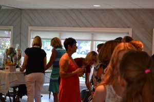 View of the line up for signed copies of Long Climb Back at Rita Hartley's book launch
